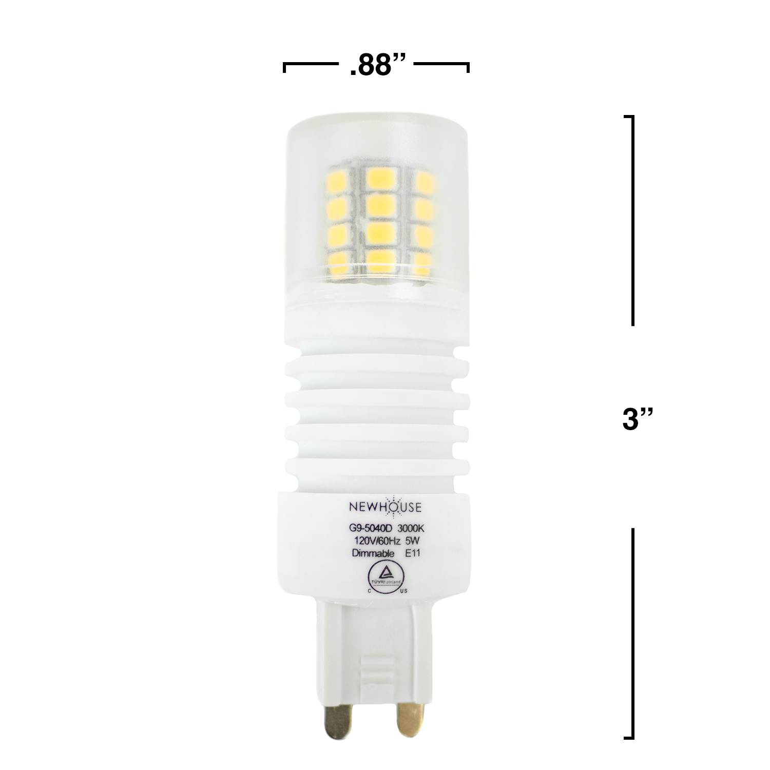 5w 40w equivalent g95040d dimmable led g9 bulb