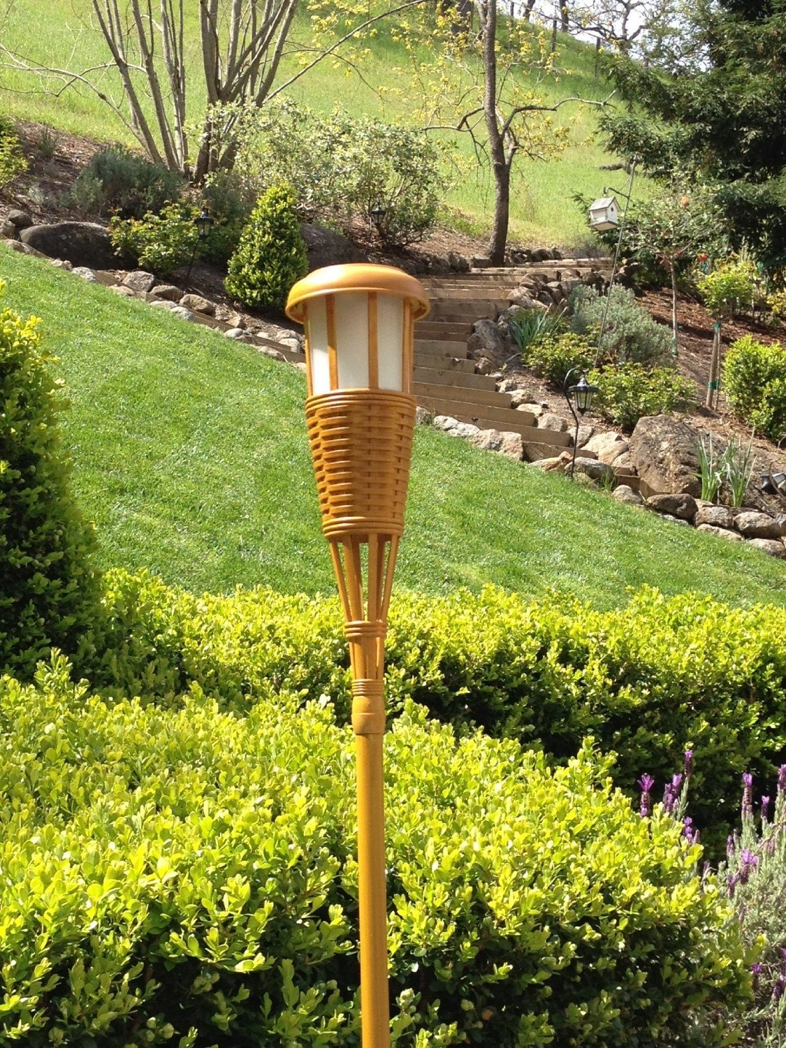 lighting tiki torches. Solar Flickering LED Tiki Torch Set, Bamboo, 4-Pack Lighting Torches I