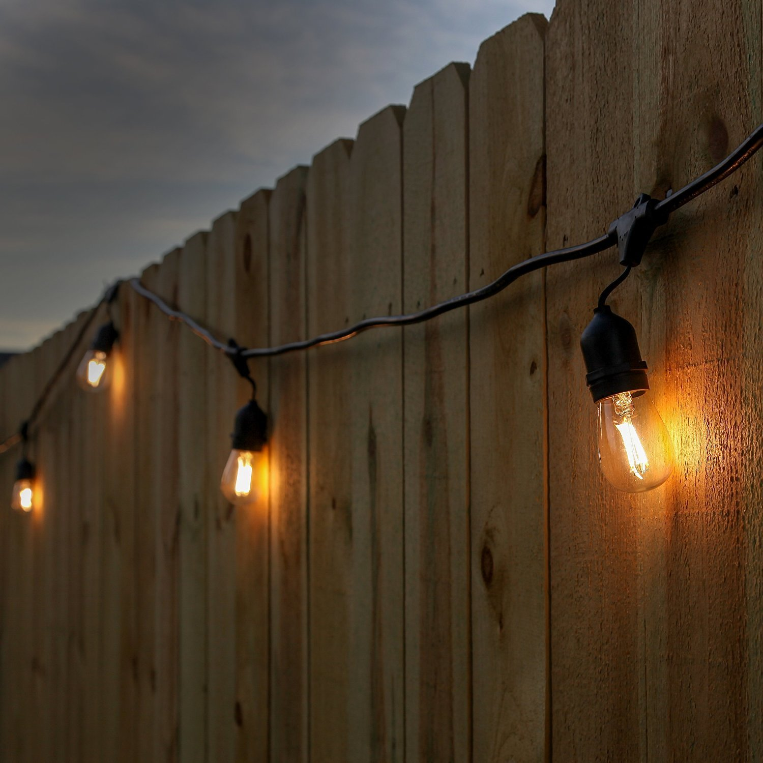 Led String Lights For Patio Newhouse lighting 48 foot outdoor string lights led bulbs included newhouse lighting outdoor weatherproof commercial grade led string lights with hanging sockets weatherproof technology 18 2w s14 led filament light workwithnaturefo