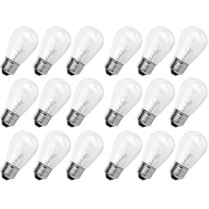 Newhouse Lighting Outdoor Weatherproof S14 Incandescent Replacement String Light Bulbs | Standard Base | 18-Pack